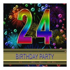 24th Birthday party Invitation with bubbles