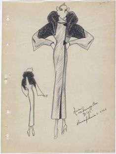 Coat with triangle buttons. Designer: Pearl levy Alexander. Winter 1934. André Fashion Illustrations from FIT's Special Collections.