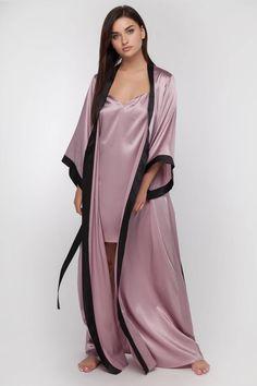 Set with Long Silk Robe and Silk Nightgown Silk Robe Long, Robe Silk, Silk Nightgown, Silk Kimono, Cute Sleepwear, Satin Sleepwear, Sleepwear Women, Bridal Robes, Bridal Lingerie