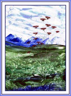 Bloemen in berglandschap geschilderd met bijenwas door Beika Kruid