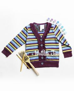 46. PLUM KITTEN CARDIGAN,(RV $48-$50),sz 12m,18m,2,4,6,8,10,12,14,Paint by Numbers Fall ~ 2013(cardigan, berry, burgundy, green blue, gray, stripes) | Mjc LookBooks