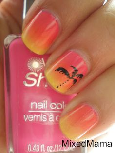 Sponged sunset manicure with stamped palm tree nail art. #nails www.SimpleNailArtTips.com