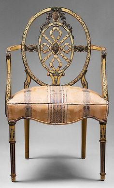 a charming 19th century pierced back ribbon carved Sheraton armchair /www.rubylane.com/