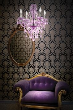 mini chandelier, love the purple. The Purple, Purple Home, All Things Purple, Shades Of Purple, Purple Velvet, Light Purple, Dark Blue, Style Boudoir, Deco Baroque
