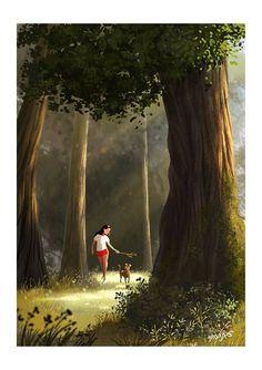 En el bosque Dog Illustration, Art Girl, Amazing Art, Art Drawings, Cartoon Drawings, Wedding Dress Sketches, Human Art, Best Artist, Simple Art