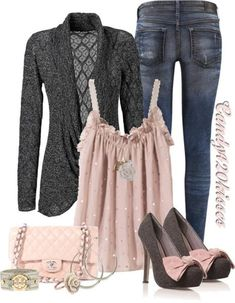 'Soft Pink,Grey,& Jeans' - really like these shoes!
