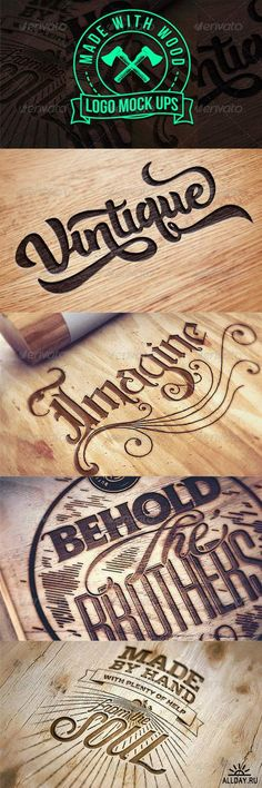 Engraved Wood Logo Mock Ups