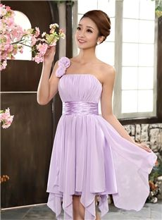 Purple Flowers Sleeveless One Shoulder Asymmetry Sweet 16 Glamorous & Dramatic A-line Dress