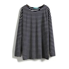 Round Neck Stripe Long Sleeve Tee ($15) ❤ liked on Polyvore featuring tops, t-shirts, blue top, striped top, striped t shirt, longsleeve t shirts and longsleeve tee