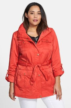 Ellen+Tracy+Short+Techno+Trench+Coat+(Plus+Size)+available+at+#Nordstrom