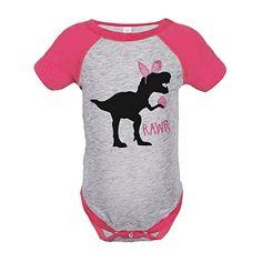 Custom Party Shop Baby Girls Dinosaur Happy Easter Pink Raglan