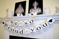 Graduation Party Decorations graduation banner - DIY Garlands for ...
