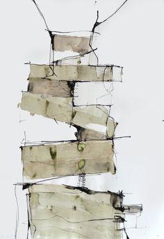 Original art abstrait d'encre dessin-construction maisons-noir, beige blanc, art moderne, art contemporain, grande taille, art minimal encre sur Etsy, $204.24 CAD