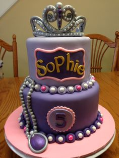 Sofia the first cake   https://m.facebook.com/mandysbonappetreats#