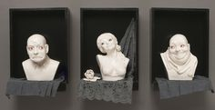 Figurative sculptures with a humorous twist. Triptych, Caricature, Appreciation, Sculptures, Figurative, Joy, Shapes, Ceramics, Statue