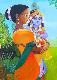 Art reproduction, acrylic painting print, devotional art, mother and child, Krishna Yasoda, India, sacred spaces, meditation, unique gift