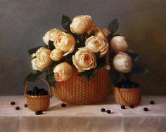 """Nantucket Garden Roses • 16x20"""" oil on linen"""