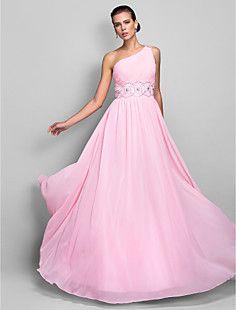 A-line One Shoulder Floor-length Chiffon Evening Dress (699... – USD $ 179.99