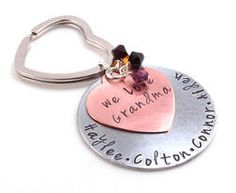 Save 15% with code PINTEREST Grandma Customized Personalized Names or Phrase Hand Stamped Keychain Gift. Mothers Day gift for Grandmothers.