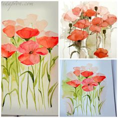 A great way to learn painting is by copying others  The watercolor on the left is from Fluidcolors. I love the way the artist faded the receeding poppies into the shadowy background, and I …