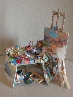 "degamonal: "" by Sans Robison "" Vitrine Miniature, Doll House Crafts, Tiny Furniture, Tiny World, Miniature Crafts, Mini Things, Dollhouse Miniatures, Anime Art, Arts And Crafts"