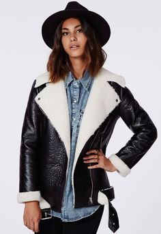 Coco Faux Leather Shearling Jacket Black