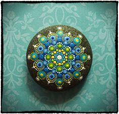 "Swim in the Sea Jewel Drop Mandala ~ by Elspeth McLean; 3"" beach stone, acrylic paint, matte varnish #dots"