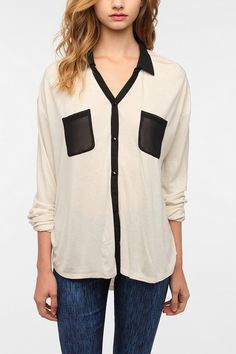 Sparkle & Fade Contrast Chiffon Button-Down Shirt Online Only  urban outfitters