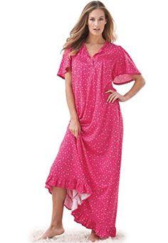 Fashion Women's Plus Size Long Cotton Knit Gown www.fashionbug.us #plussize 1X 2X 3X 4X 5X 6X