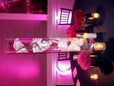 Wedding centerpiece orchids pinks
