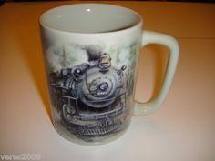 Otagiri Japan Train Mug Coffee Cup Sunrise Publications 4 inches Steam Engine