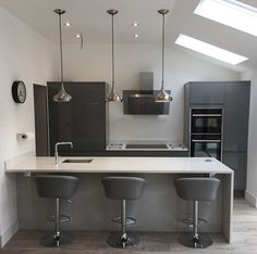 Thank you @SetfordCarpentry for sharing this image of your Clerkenwell Slate Grey kitchen on Instagram. Contrast dark grey cabinet doors with white worktops and walls for bright highlights.