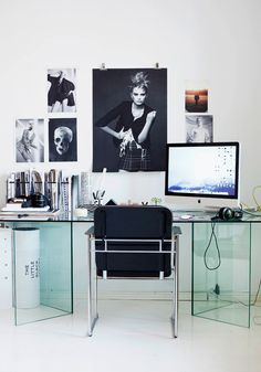 Modern Glass Desk Cool Home Office With Poster Tapja. Chair, Sofa, Table, Home Office, Lamp and Lighting Work Without Have To Be Involved In Defaulted Or Go Morning And Go Home Night Has Now Present Modern Cool Home Offices Suppose Design Office, Home Office Design, Home Office Decor, Home Decor, Office Ideas, Office Designs, Office Style, Office Inspo, Decoration Inspiration