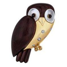 Van Cleef & Arpels Paris Wood Mother-of-Pearl Diamond Gold Owl Brooch