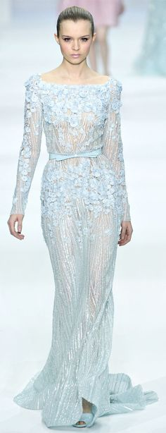 Elie Saab Haute Couture Spring Summer 2012 collection :: Pastel Baby Blue~ - More pastel ideas here: http://mylusciouslife.com/prettiness-luscious-pastel-colours/
