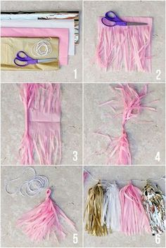 How to Make Tissue Paper Tassel Garland! Such a cute party craft and it's super … How to Make Tissue Paper Tassel Garland! Such a cute party craft and it's super easy and inexpensive! Pink Und Gold, Rose Gold, Grad Parties, 1st Birthday Parties, Birthday Ideas, Birthday Crafts, Birthday Garland, Pink And Gold Birthday Party, 60th Birthday
