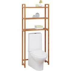 Keep a variety of items conveniently stored in the bathroom with this Over the Toilet Shelving Unit. #bathroom #bath #bamboo #bathroomideas #ecofriendly #interiordecor #interiordecorating #storage
