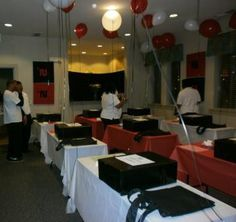 Set-up for families to arrive at Thanksgiving event