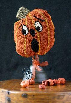 "Pumpkin ""SCAREDY"" Punch Needle Whimsie"