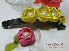 Presilha de cabelo decorada com flor de fita passo a passo