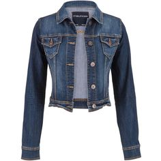 maurices Denim Jacket In Dark Wash ($39) ❤ liked on Polyvore featuring outerwear, jackets, cotton jean jacket, maurices, blue denim jacket, blue cotton jacket and jean jacket