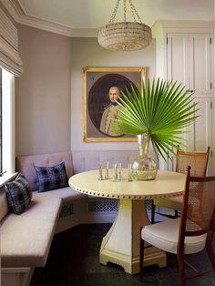 Jean-Louis Deniot in LA - breakfast room with leather table, 1930s beaded chandelier, 18th-century Swedish portrait