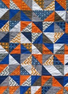 Orange Blue White And Gray Triangle Quilt Yellow Quilts Half Square Homemade