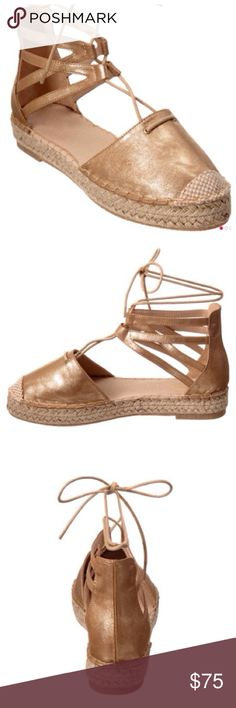 """🍃💕NIB Catherine Malandrino Leather Espadrilles Gorgeous platform espadrille by Catherine Malandrino. Brand new in box. Features 1"""" heel & platform, lightly cushioned footbed, ankle tie closure, non skid sole, gold metallic fabric upper. Stunning addition to your wardrobe for the Spring/Summer season. Fit is TTS. Absolutely gorgeous!💕No trades Catherine Malandrino Shoes Espadrilles"""