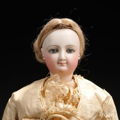 Bisque Head Smiling Lady Doll by Bru