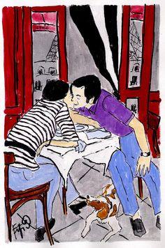 ooh la la a Parisian Kiss!!!  painting by Fifi Flowers