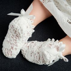 Grace Lace Christening Booties - Girls Booties