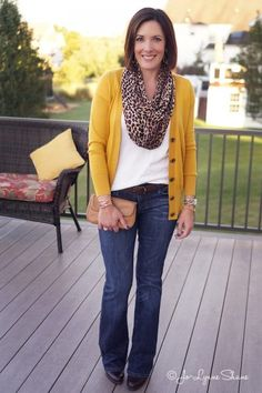 Fall Outfit Inspo: Mustard Cardigan with Leopard Scarf