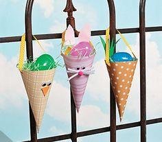 PAP de cones de papel com coelhinhos - Pra Gente Miúda