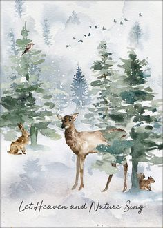 Heaven and Nature Folded Holiday Cards Winterlandschaft. Watercolor Christmas Cards, Watercolor Cards, Watercolor Paintings, Watercolors, Simple Watercolor, Watercolor Galaxy, Galaxy Painting, Watercolor Trees, Christmas Paintings